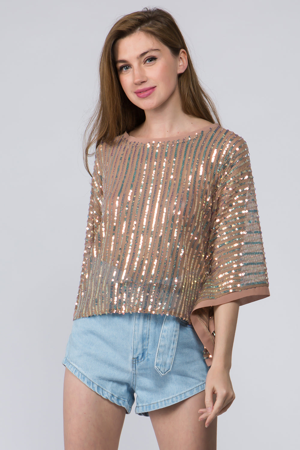 Sequin Stripe Mesh Top - Tan Mutli
