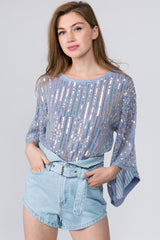 Sequin Stripe Mesh Top - Blue Mutli