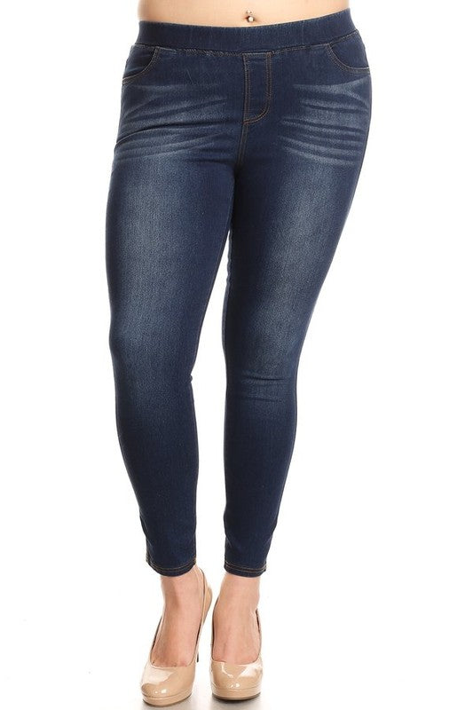 Plus Size Dark Denim Enzyme Washed Jeggings