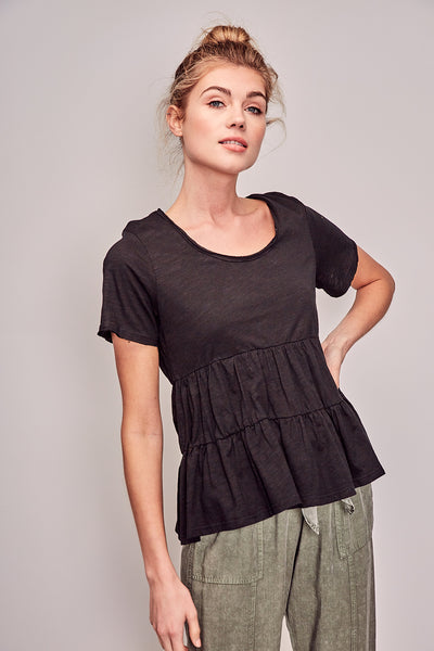 Tiered Baby Doll Tee - Black