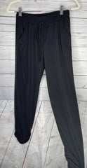 Cropped Side Ruched Drawstring Pants - Black