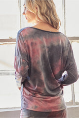 V Neck Tie Dye Long Sleeve Top - Red/Charcoal