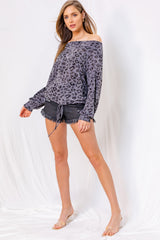 Off the Shoulder Leopard Print Top - Charcoal