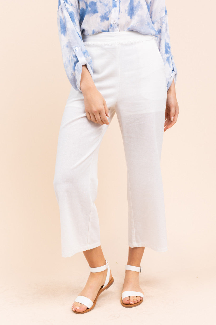 Frayed Detail Trouser - White