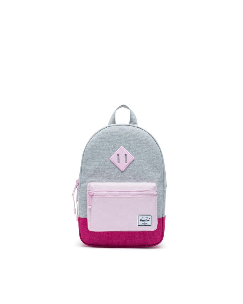 heritage kids grey and pink backpack