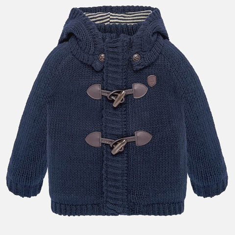 navy knit jacket with toggle fastener