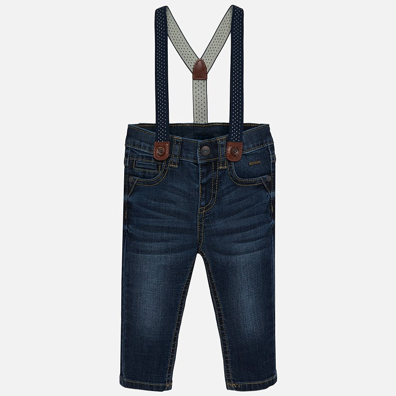 dark wash jeans with suspenders