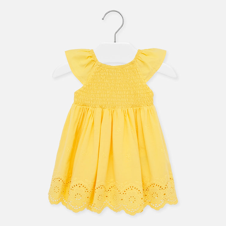Yellow Perforated Dress for Baby Girl