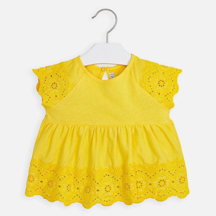 Yellow Embroidered Long Blouse for Girl