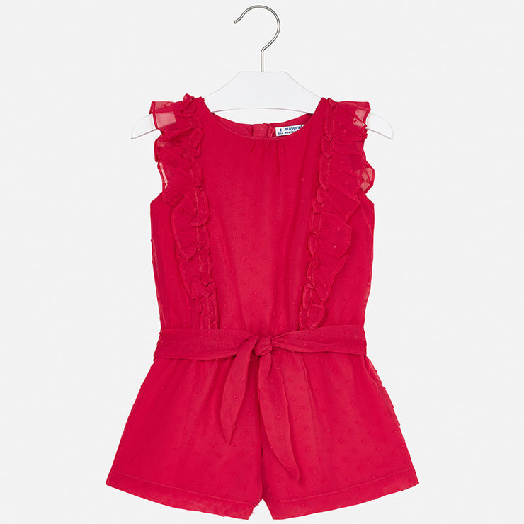 Strawberry Red Chiffon Jumpsuit for Girl