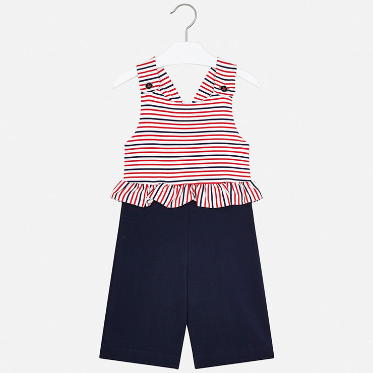Navy and Red Striped Jumpsuit for Girl