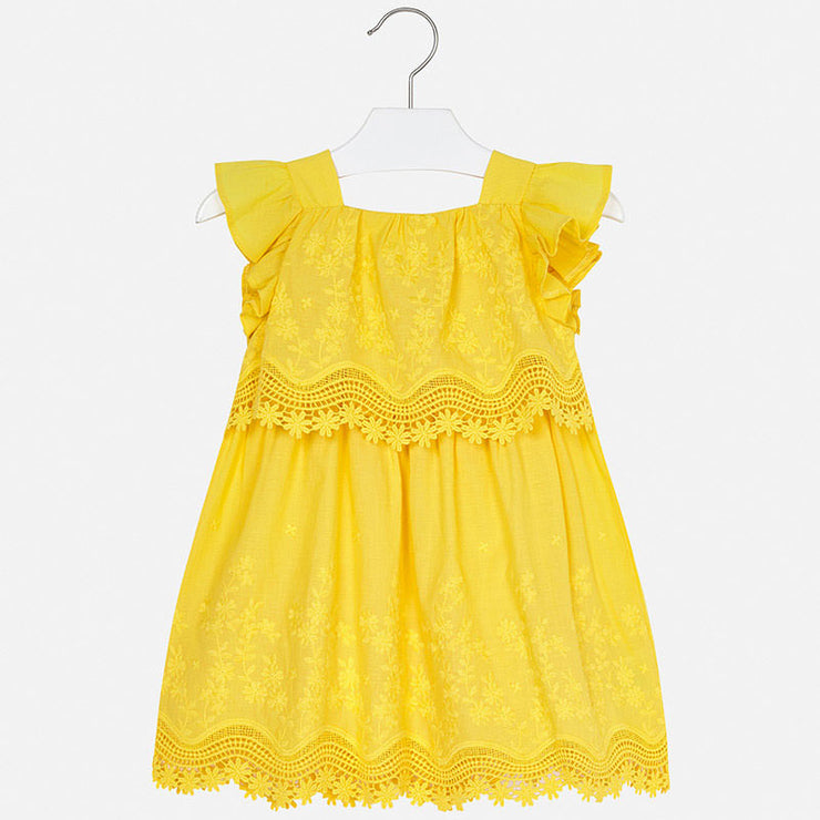 Yellow Embroidered Dress for Girl