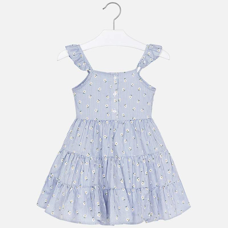 Navy Striped Dress with Daisy Print for Girl