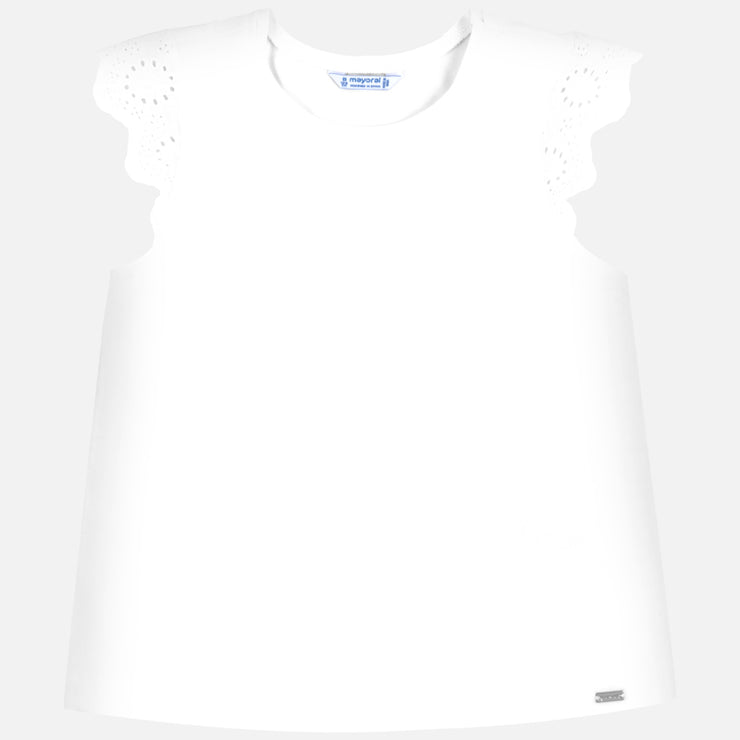 White Embroidered Short Sleeve T-Shirt for Big Girl