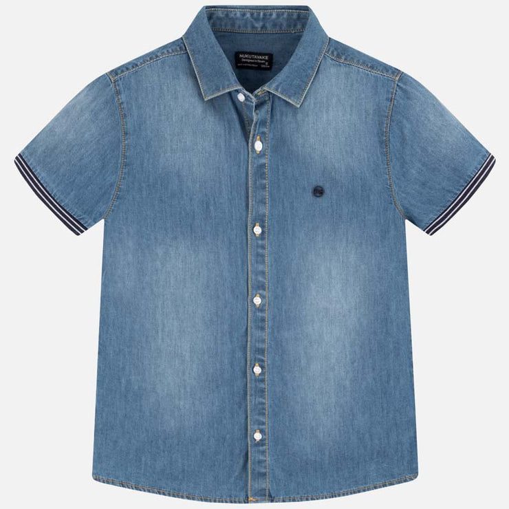 Short Sleeved Denim Shirt for Big Boy