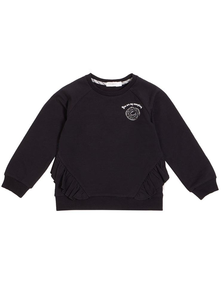 "Black ""MTL Bagel Shop"" Ruffled Crew Neck Sweater"