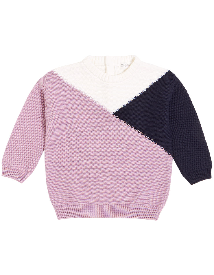 Pink Navy and White Colorblock Pullover