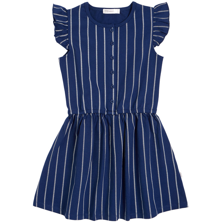 Ruffle Short Sleeve Dress In Navy