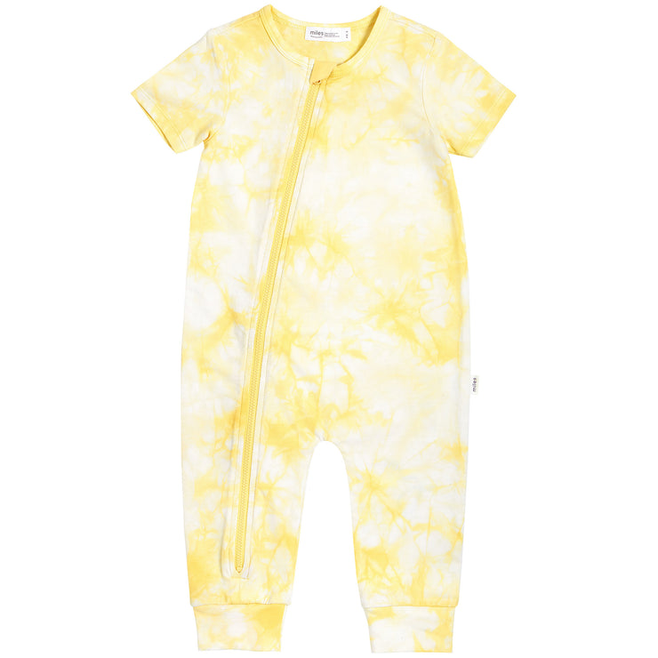 Tie Dye Short Sleeve Coveralls In Yellow
