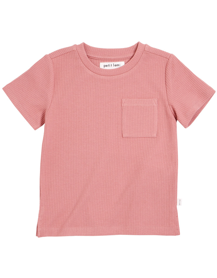 Pink Rib Short Sleeve Top