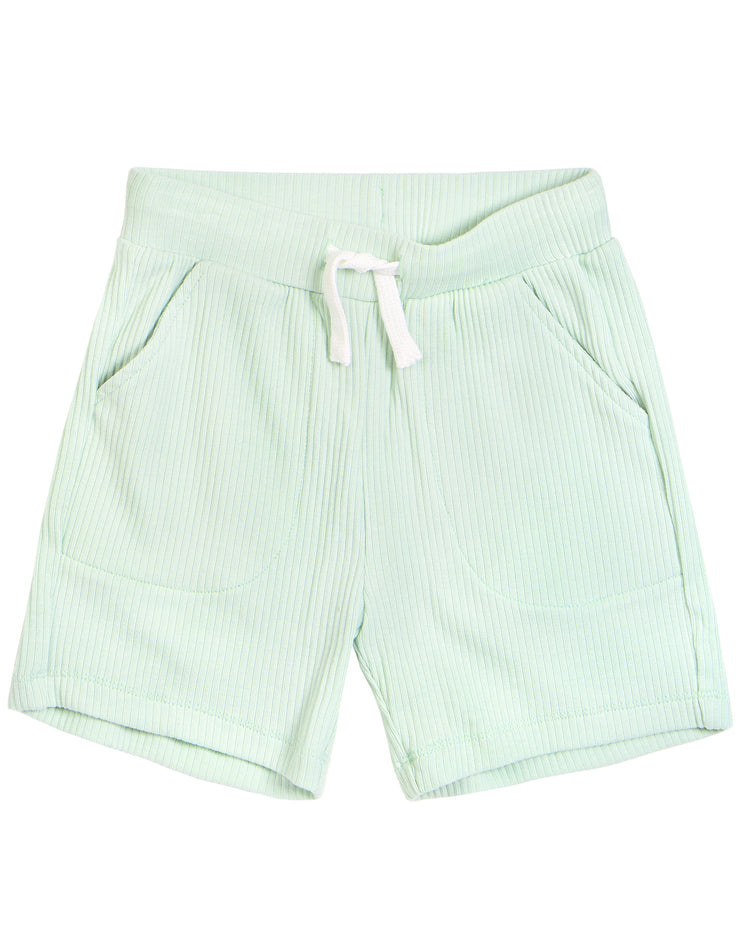 Light Green Rib Knit Shorts