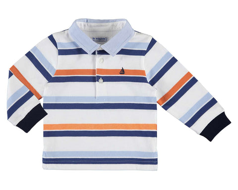 passion fruit stripe long sleeve polo