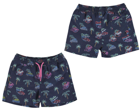 navy tropical swimshorts