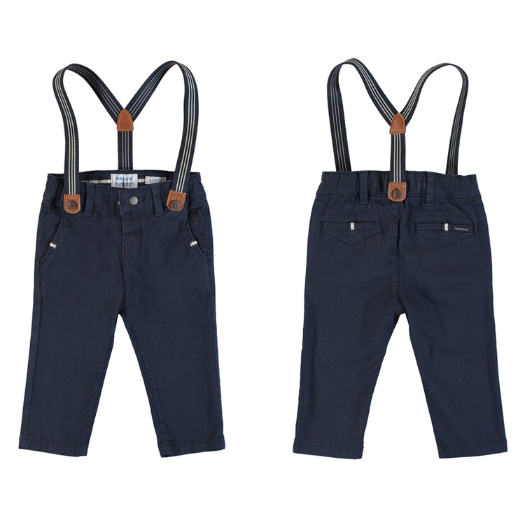 Navy Chino Pants With Suspenders