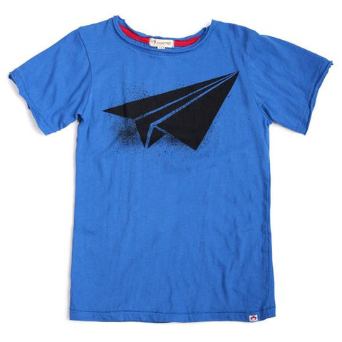 city blue paper airplane shirt