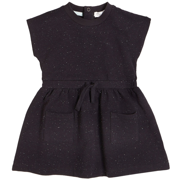 Black Speckled Short Sleeve Dress