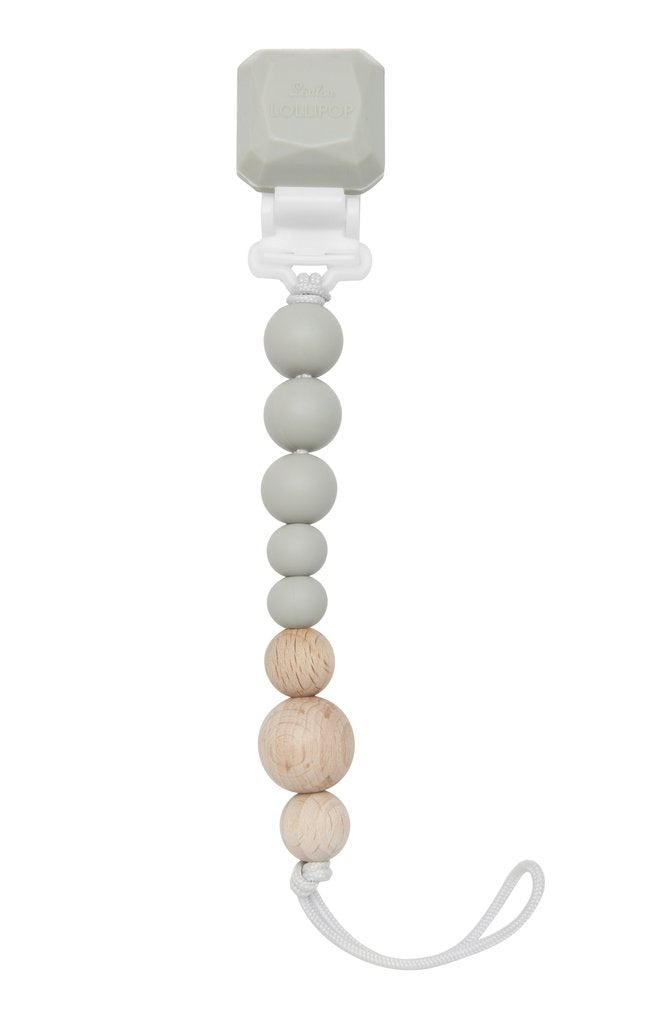 Colour Pop Silicone & Wood Pacifier Clip - Cool Gray