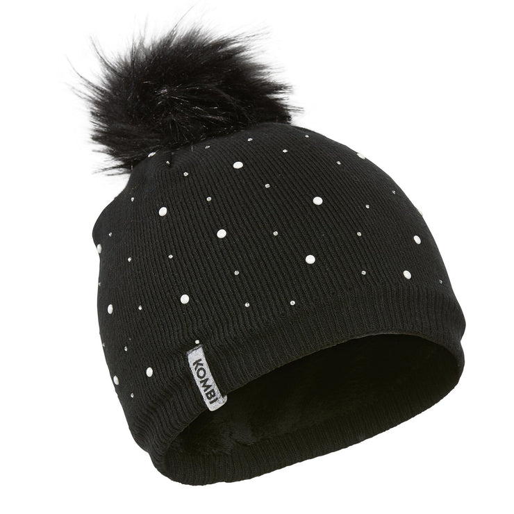 Flashy Pompom Toque - Juniors in Black