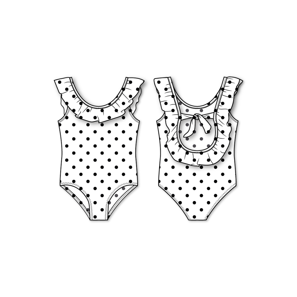 girls black and white polka dot one piece