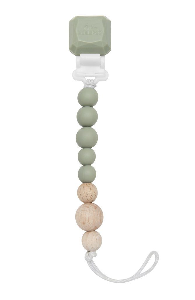 Colour Pop Silicone & Wood Pacifier Clip - Silver Sage