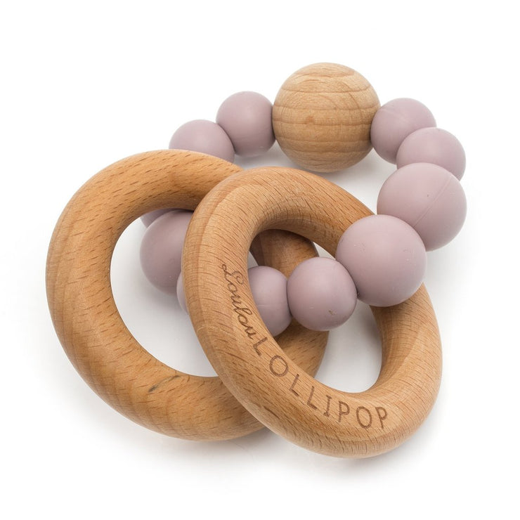 Bubble Silicone and Wood Teether - Dusty Mauve
