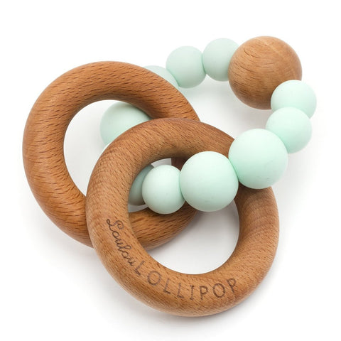 mint bubble silicone and wood teether
