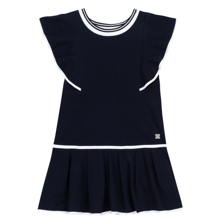 Navy Pleated Bottom Dress