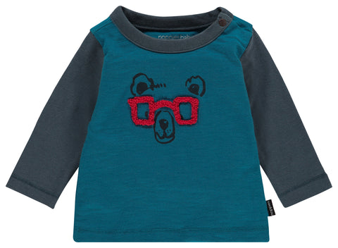 red glasses bear long sleeve shirt