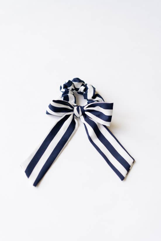 Striped White & Navy Scrunchie with Bow