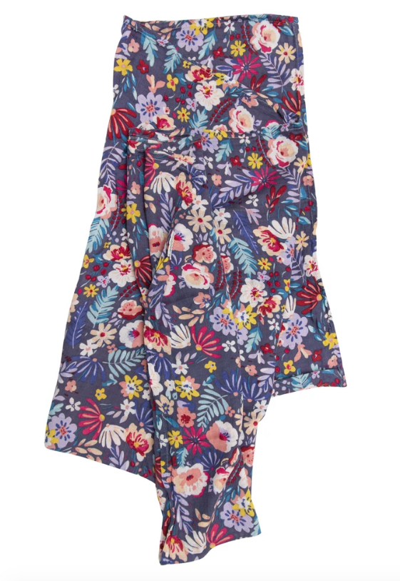 Dark Field Flowers Muslin Swaddle