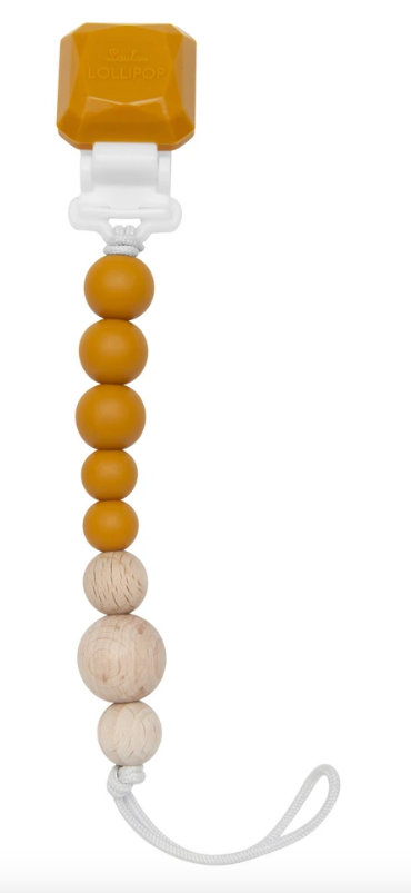 Colour Pop Silicone & Wood Pacifier Clip - Golden Glow