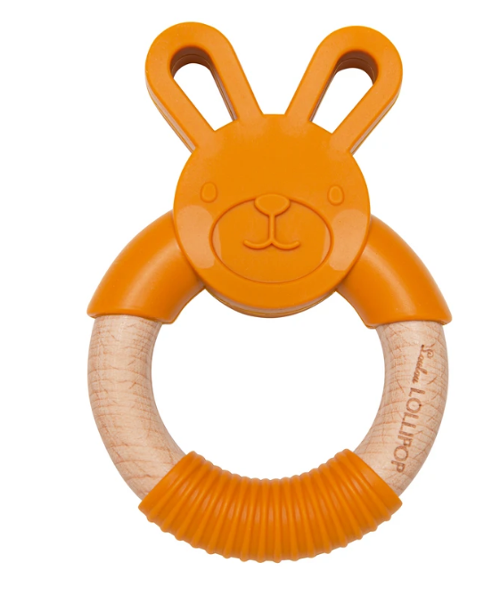 Bunny Silicone and Wood Teether - Golden
