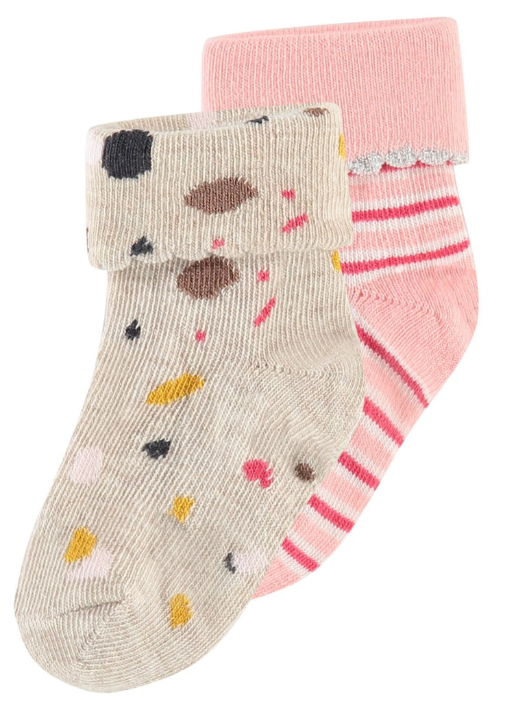 pink and speckle socks