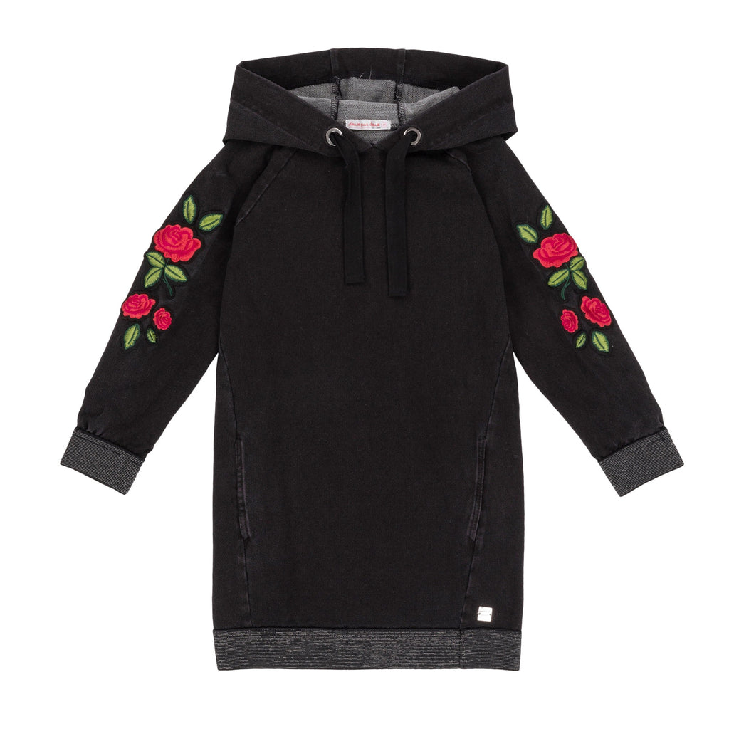 dark grey and roses hooded dress