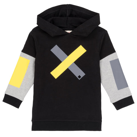 black and grey colour block hoodie