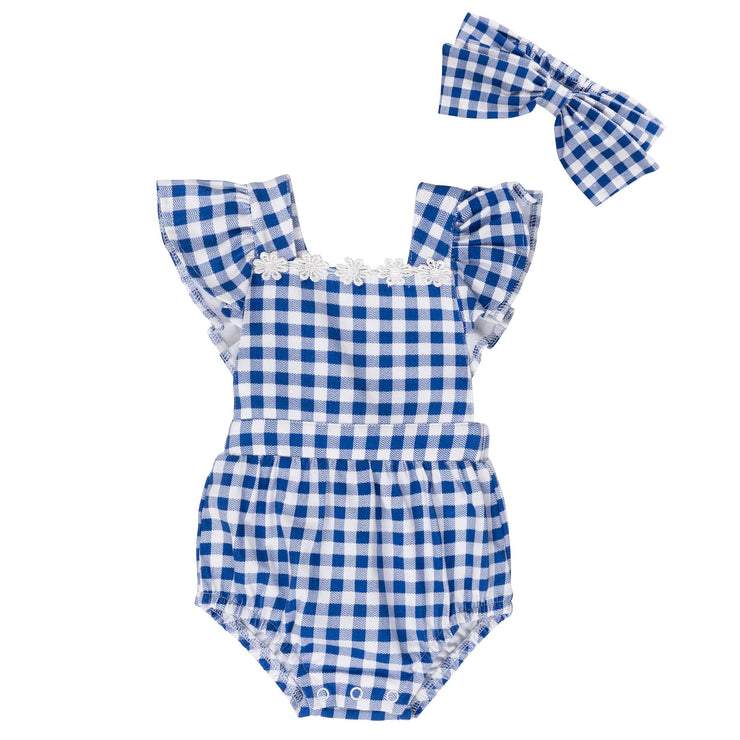 White and Blue Plaid Romper and Headband