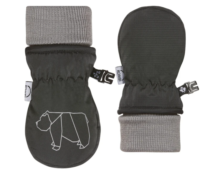 Baby Animal Foldable Cuff Mittens - Infants Asphalt Bear