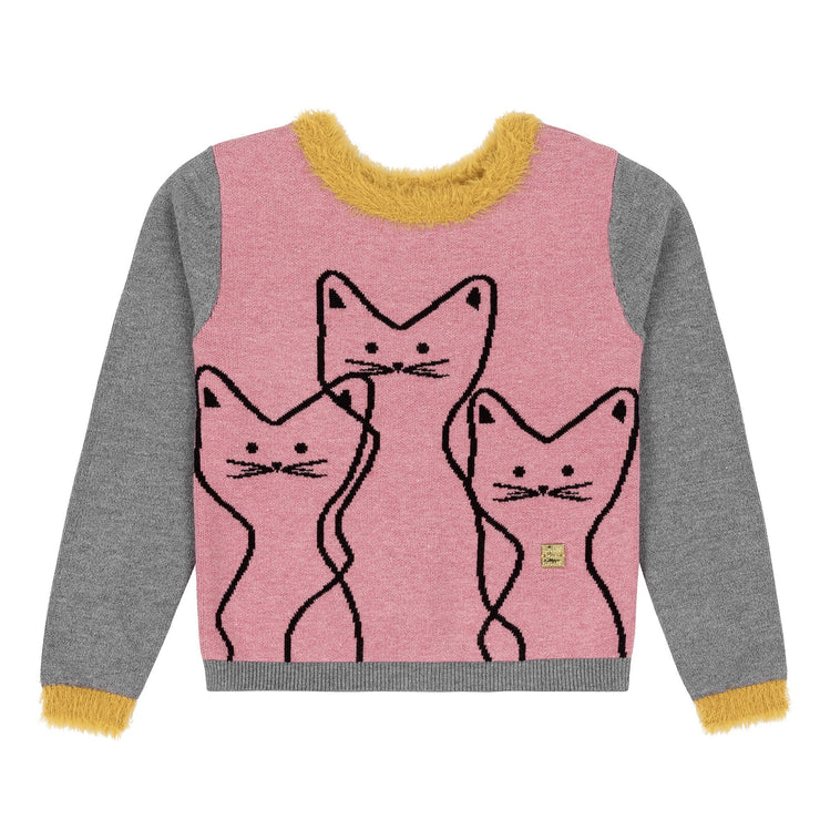 Knitted Sweater With Cats