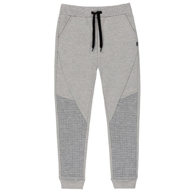 Light Grey French Terry Jogger Pants With Quilted Details