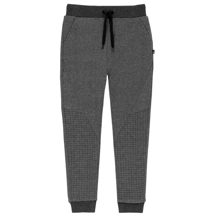 Dark Grey French Terry Jogger Pants With Quilted Details